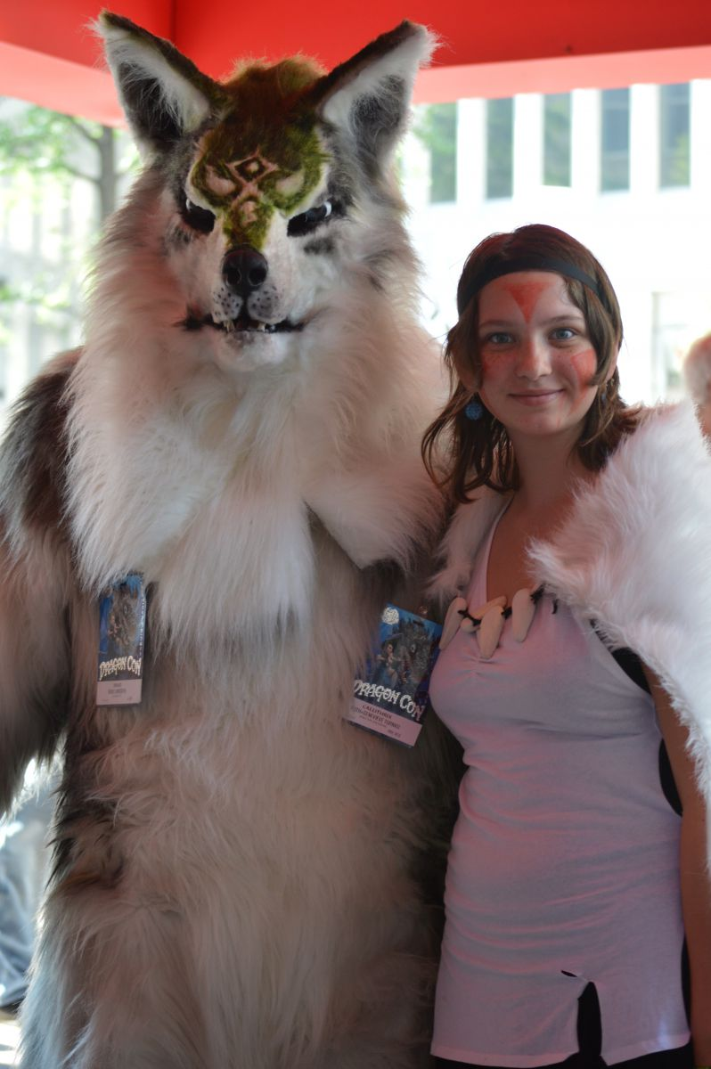 My daughter Ruth as San, the Wolf Princess, with a wolf friend.